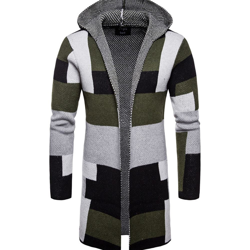 Men Fashion Jackets Long Style Cardigan Outerwear Sweater Male Button Drop Ship Foreign Trade Stripe Color Matching Top Coats