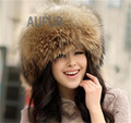 Classic Women Real Fox Fur Hat Ladies Winter Warm 100% Genuine Raccoon Fur Hat Casual Cap with Tails AU00009-1