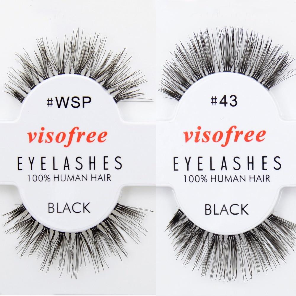 Free DHL 120 pairs Visofree Eyelashes Human Hair Eye Lashes Black Wholsale
