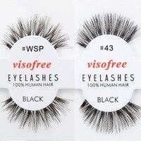 Бесплатная доставка DHL 120 пар visofree wispies ресницы Человеческие волосы ресницы Черный оптовой