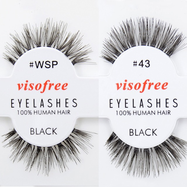 Free DHL 120 pairs Visofree Wispies Eyelashes Human Hair Eye Lashes Black Wholsale