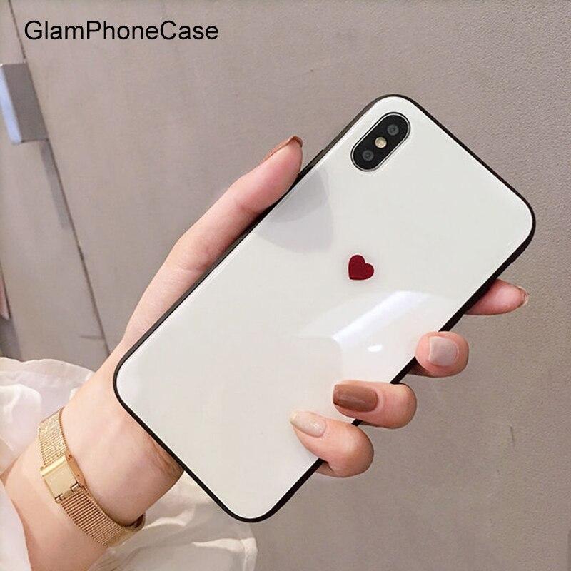 GlamPhoneCase Glas Herz Liebe Handy Fall für iphone 8 plus 8 7 plus 7 Hard Zurück Fall für iphone X 6 6 s 6 plus 6 s + Mode