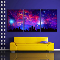 Free Shipping Stretched Canvas Prints Dream of Sky Flash Effect LED Flashing Optical Fiber Print LED Wall Art LED Decorations