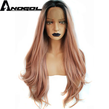 Anogol Pink Ombre Black High Temperature Fiber Peruca U Part 360 Frontal Long Natural Wave Hair Wigs Synthetic Lace Front Wig(China)
