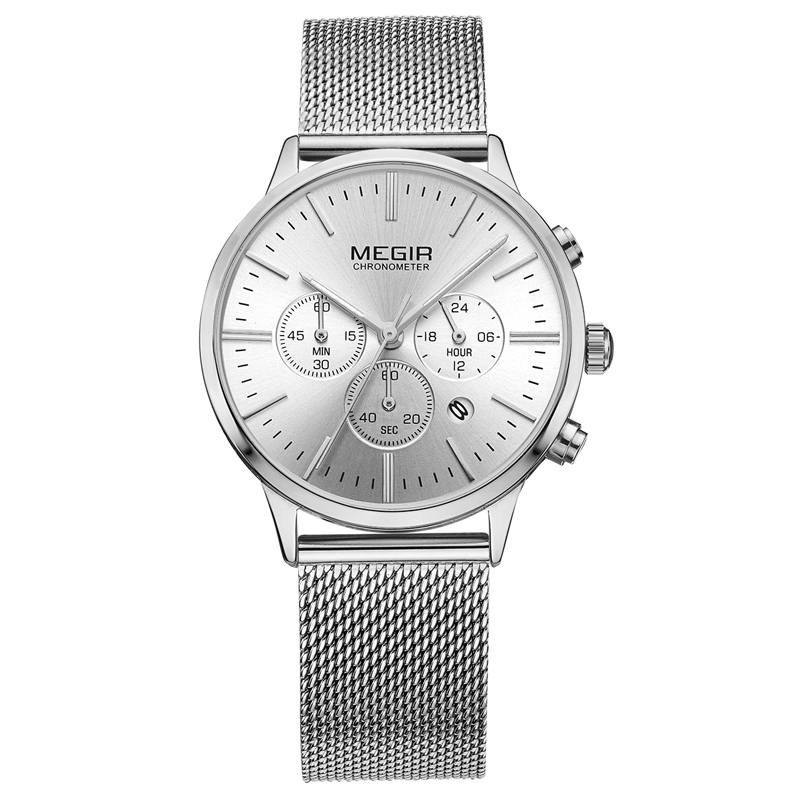 MEGIR Merk Luxe Dameshorloges Mode Mesh Band Quartz Dameshorloge - Herenhorloges - Foto 5