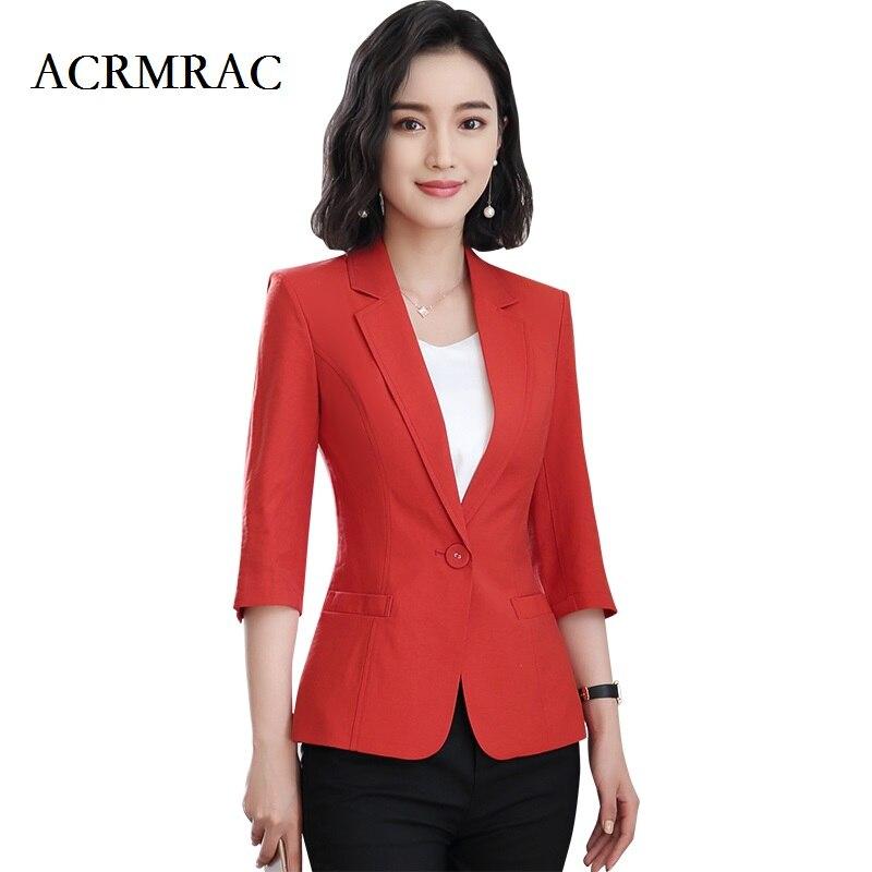ACRMRAC Women's clothing New style Summer Half sleeve jacket red Solid color Slim Office Lady OL Regular Blazers