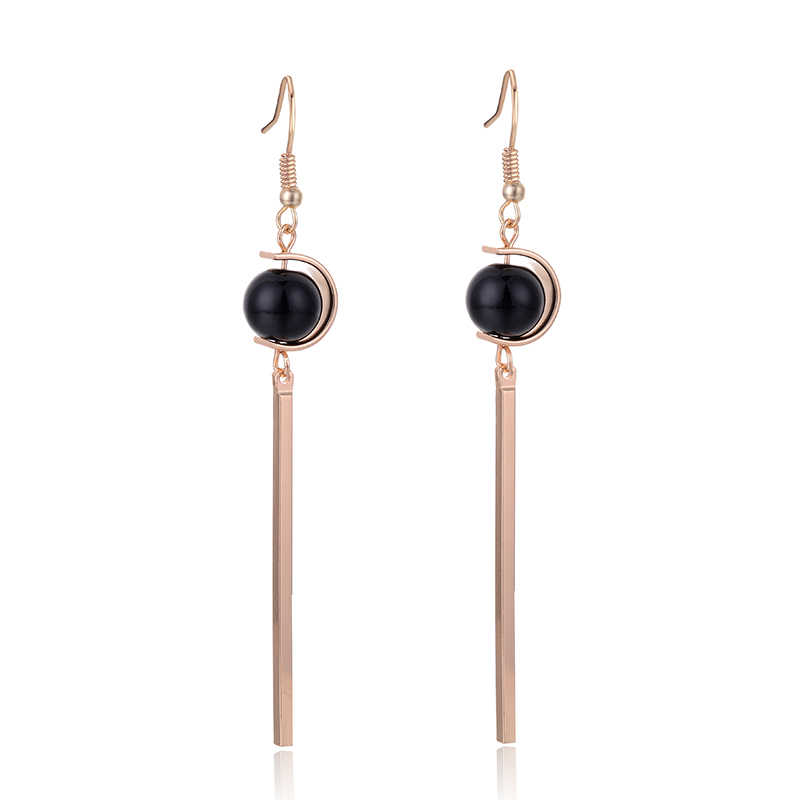 SUKI Ball Black Beads Long Stick Tassels Dangle Female Korean Earrings  Zinc Alloy Jewelry Pendant Drop Women Earrings