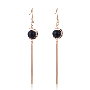 SUKI Ball Black Beads Long Stick Tassels Dangle Female Korean Earrings Zinc Alloy Jewelry Pendant Drop Women Earrings image
