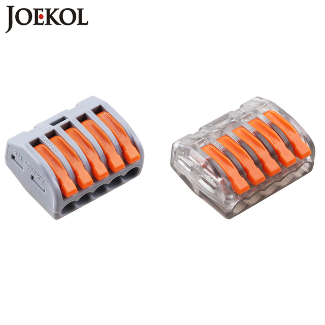 (100pcs/lot) Wago 5P Universal Compact Wire Connector Conductor Terminal Block 222-415 PCT-215 type