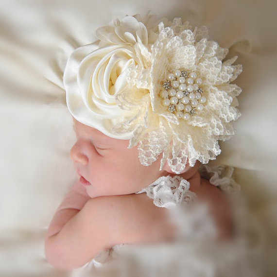 Baby girls Flower Headband Newborn Infant Pearl Flowers With Lace wide Headbands Bebes Hair accessories Phoro props Kids Turban