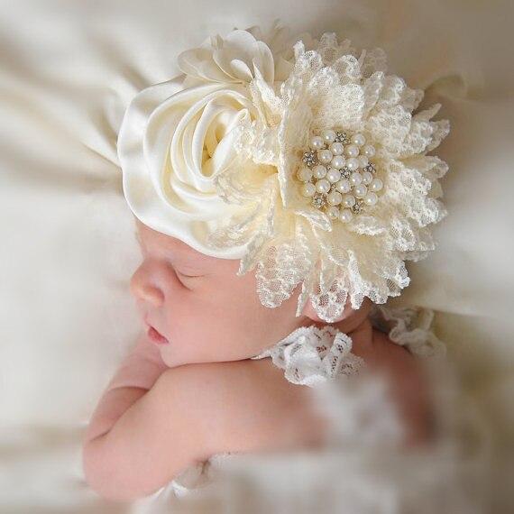 Baby Meisjes Bloem Hoofdband Pasgeboren Baby Parel Bloemen Met Kant