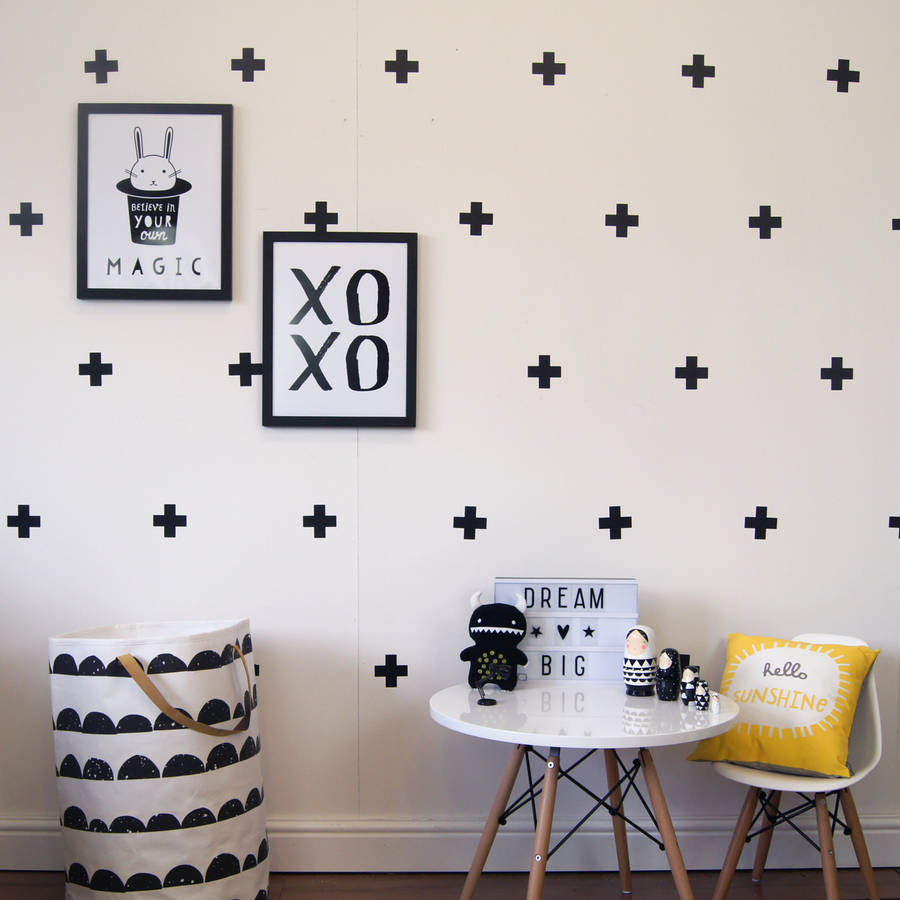 Cross Design Wall Decals Modern Wall Decor Cross Plus Sign Decal Removable  Decor Kids Bedroom Living Room Set Of 63 Pcs ZA757 In Wall Stickers From  Home ...