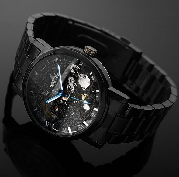 Mechanical Watches 2019 New Style Cool Black Men Stainless Steel Dress Watches Automatic Self Winding Business Dress Wristwatch Back Transparent Relojes Nw4435 Factory Direct Selling Price