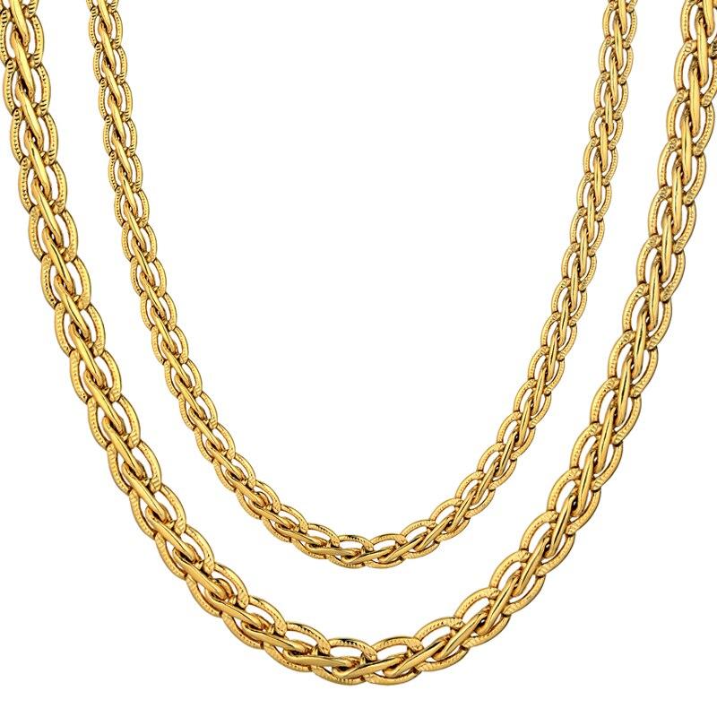 Vintage 45/55/66/76cm Gold-Color Necklace Fashion Mens Gold Chain Necklace Male Chain Golden Necklaces Hot Sale 2018