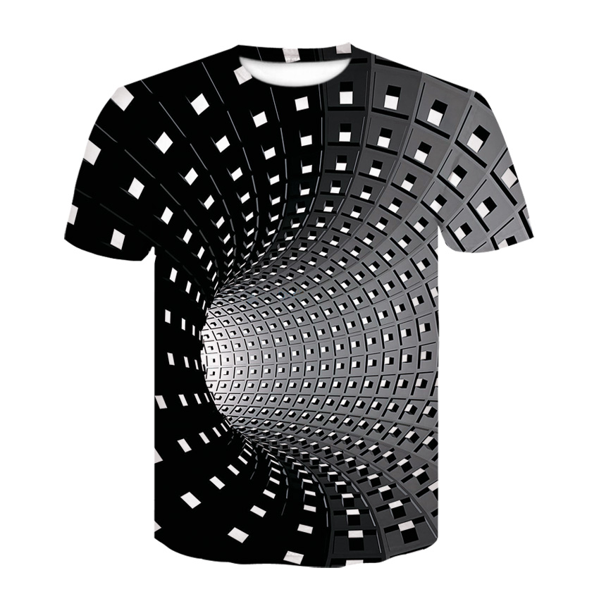 3D black and white checked tunnel short sleeve T-shirt, summer boy hip hop funny personality print trend T-shirt