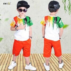 Image 5 - Подростковые спортивные костюмы, комплекты летней одежды для мальчиков, футболка с коротким рукавом и повседневные брюки, От 3 до 10 лет Детская одежда для мальчиков