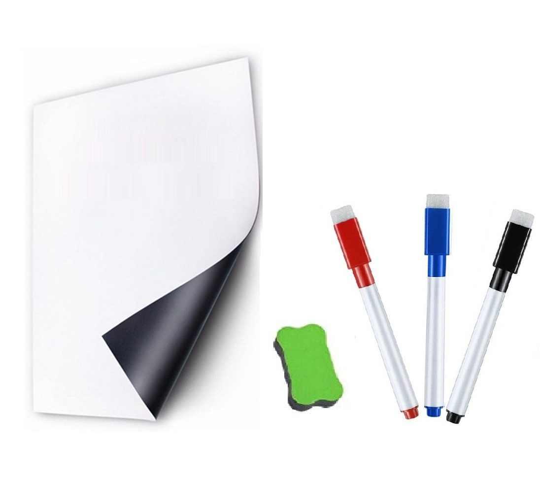 A5 Size Droog Gum Magnetische Whiteboard Magneet Koelkast Sticker Home Keuken Herinnering Notepad White Board Marker Pen