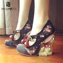 Prova Perfetto Cute Deer Heel Women Pumps Mary Janes High Heels Platform Wedge Shoes Woman Valentine Shoes Stiletto Wedges