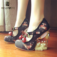 Prova Perfetto Cute Deer Heel Women Pumps Mary Janes High Heels Platform Wedge Shoes Woman Valentine Shoes Stiletto Wedges