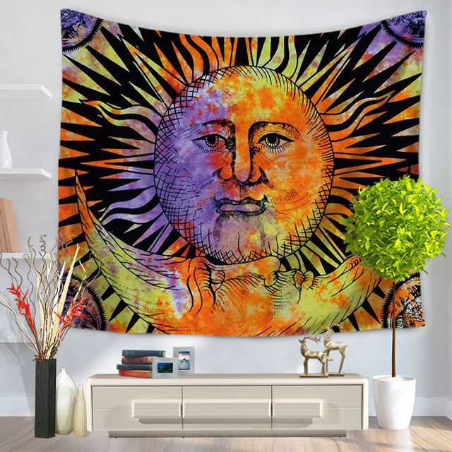 Tapestry Psychedelic Celestial Indian Sun Tapestry Wall Hanging Throw Bohemian decor Door Curtain 150x130cm Tenture Mural & Tapestry Psychedelic Celestial Indian Sun Tapestry Wall Hanging ...