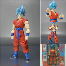 Anime Figurine SHF Figuras Dragon Ball Z Blue Hair Son Goku Joint Moveable PVC Action Figure Children Model Toy 15cm цена 2017