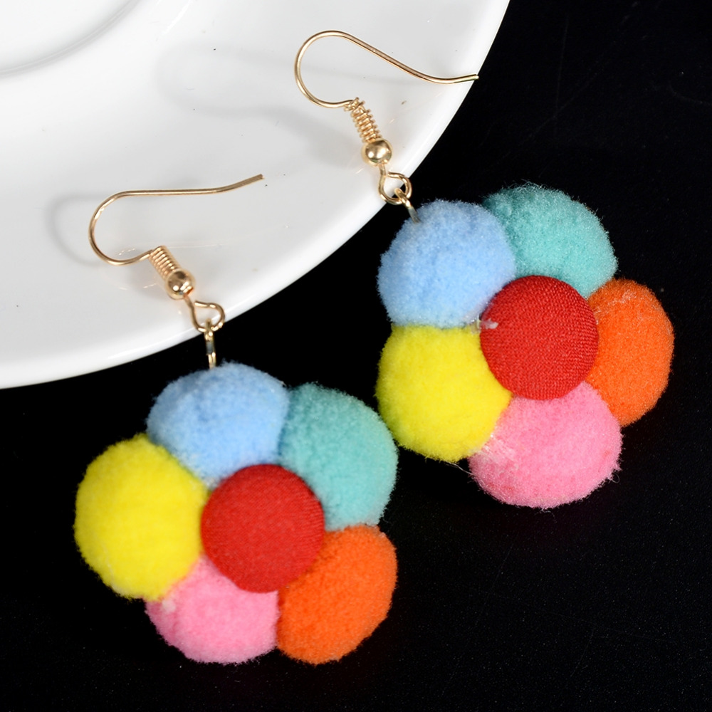 Bohemia Geometric Faceted Colorful Flower Resin Drop Earrings for Women Jewelry