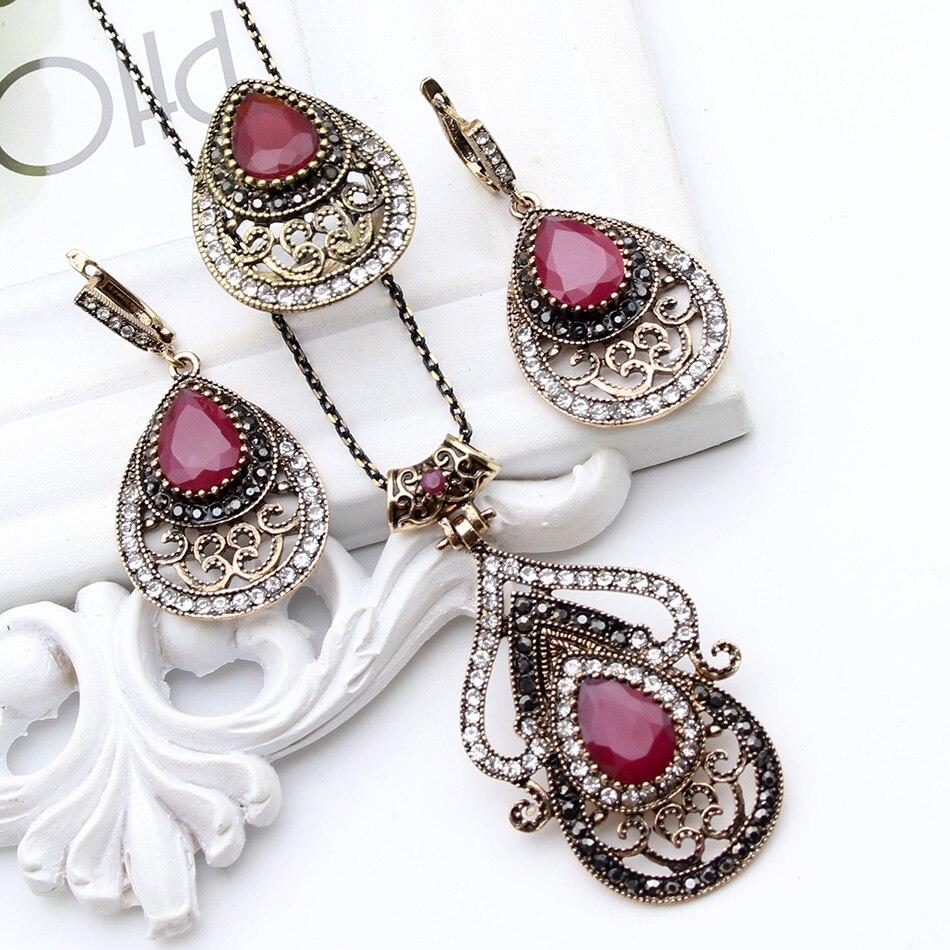 Hot Sale Vintage Turkish font b Jewelry b font Sets Antique Gold Plated Necklace font b
