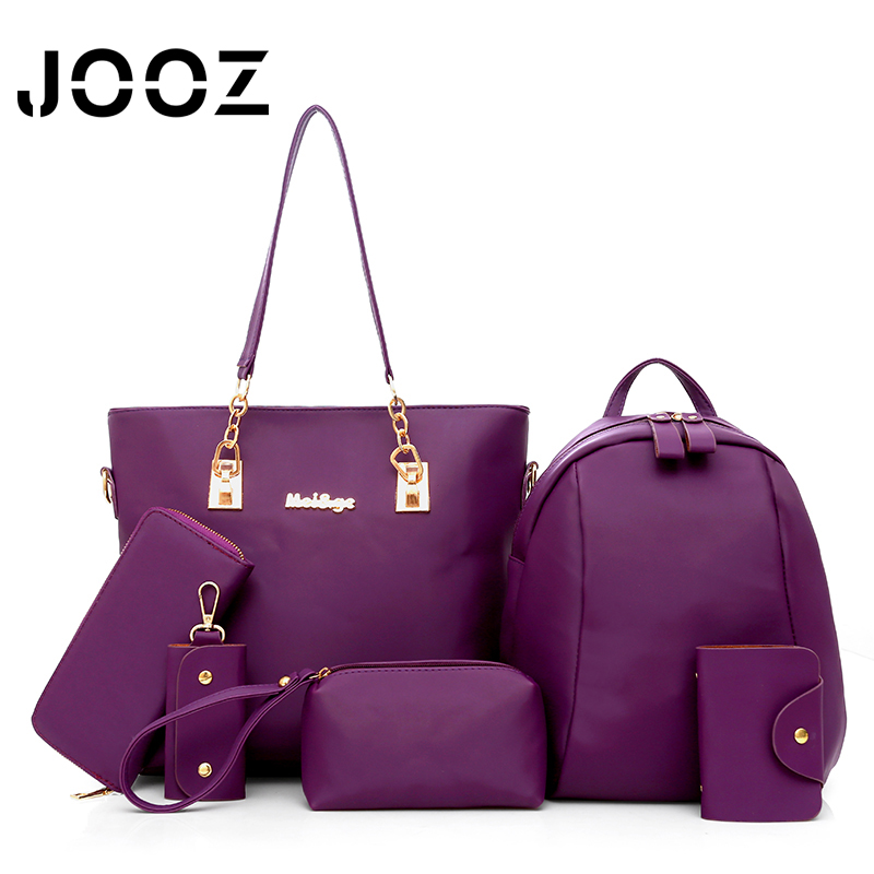 Luxury Women 6 Piece Bag Set JOOZ Brand 2017 Women Tote Lady Handbag PU Leather Messenger Shoulder bags Composite Bags jooz brand luxury belts solid pu leather women handbag 3 pcs composite bags set female shoulder crossbody bag lady purse clutch