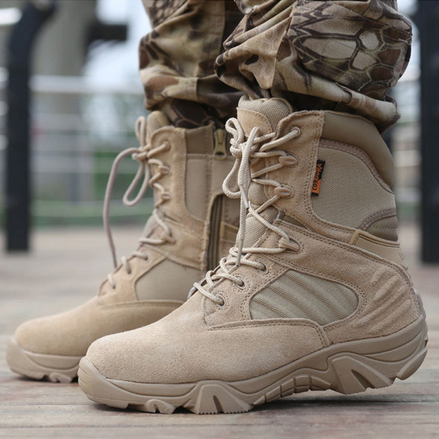 Outdoor High Quality Self-defense Winter/autumn Military Leather Boots Special Forces Tactical Desert Combat Boats Snow Shoes