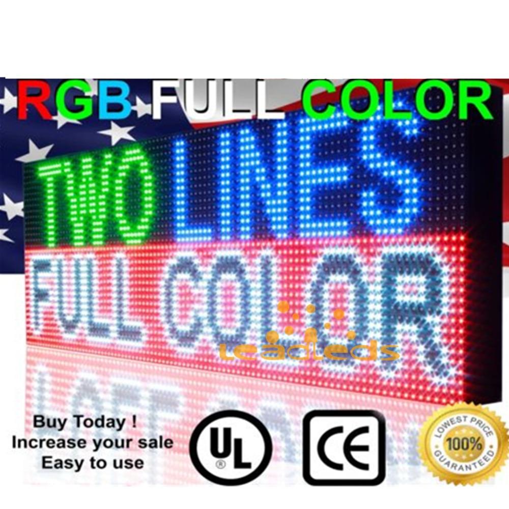 54x16inch Full Color RGB Outdoor Waterproof 10MM HD Wifi+U Disk Programmable Scrolling Message Street Multi-line Led Sign Board