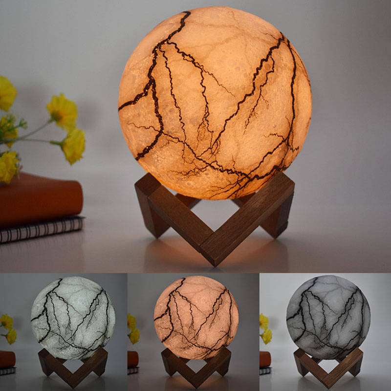 Cracked Mystical Moon Lamp | 3d Moonlight Lamp | Levitating Moon Lamp