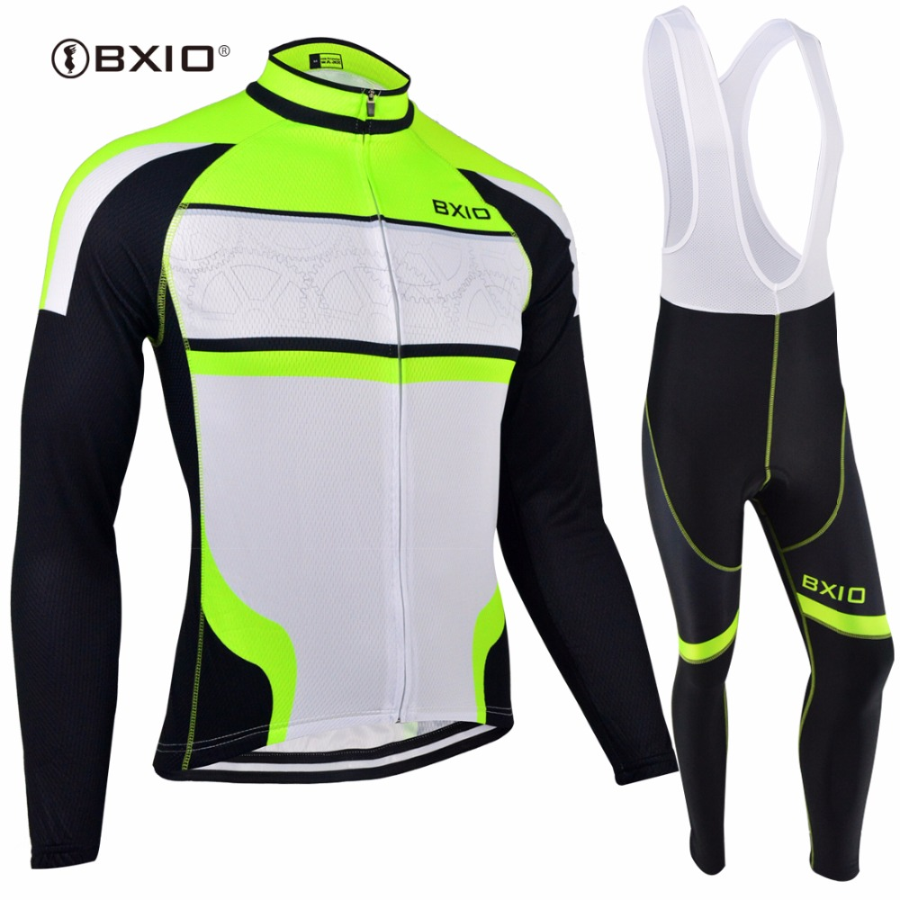 BXIO Winter Thermal Fleece Cycling Jersey Seamless Stitching Long Sleeve Bicycle Clothing Fluo Green 5D Pad Maillot Ciclismo 127 цена