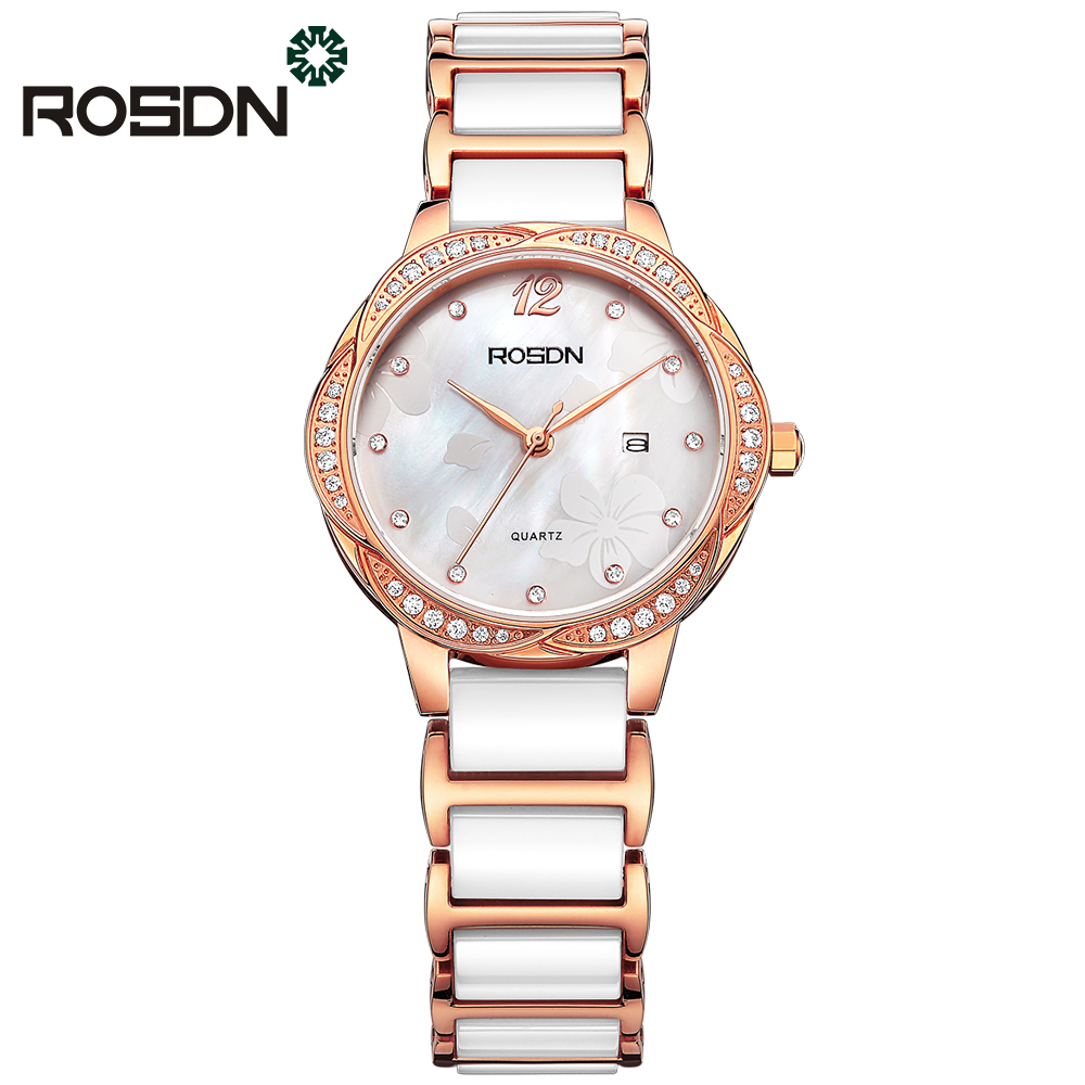 цена luxury watches for women ROSDN brand ladies wrist bracelet watch gift set waterproof ceramic band sapphire crystal quartz watch