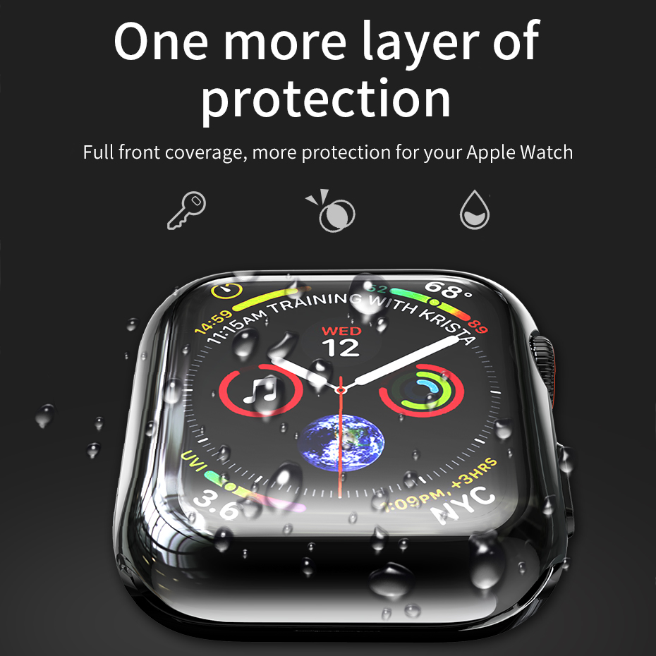 HOCO Ultra thin TPU Screen Protective Case Cover Shell 40mm 44mm For Apple Watch iWatch Series 4 Colorful Plating Soft Case in Watchbands from Watches