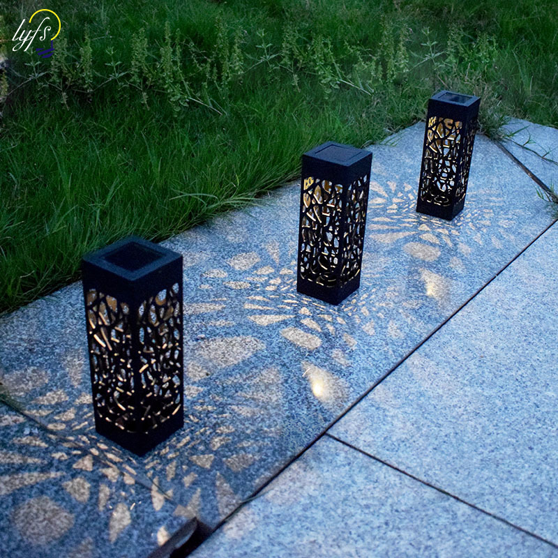 LED solar lawn light outdoor waterproof hollow solar lamp garden courtyard pathway landscape led light lighting decoration