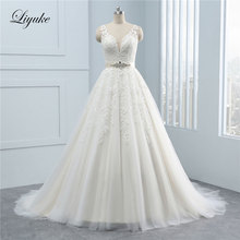 Liyuke V-Neck A-Line Wedding Dress With Sleeveless Backless
