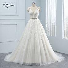 Liyuke V-Neck A-Line Wedding Dress With Sleeveless Backless