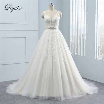 Vintage Deep V-Neck Appliques Lace A-Line Wedding Dress With Beading Sashes Sleeveless Silky Organza Backless Wedding Gown - DISCOUNT ITEM  25% OFF All Category