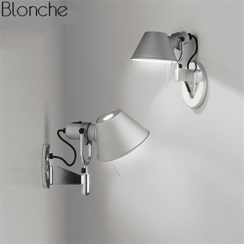 Lampe de mur LED moderne E27 bras réglables balançoire chapeau applique murale miroir lumière pour chambre lecture étude Luminaire décor industriel