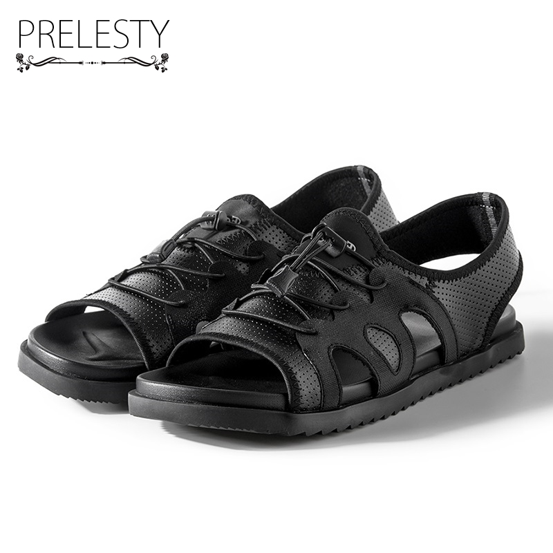 Prelesty Split Cow Leather Summer Men Sandals Classical Holiday Outdoor Shoes Hollow Out Breathable Open Toe Fashion New Brand