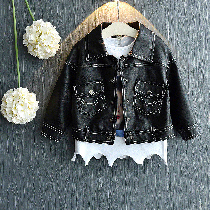 Baby Girl Jacket Toddler Girl Autumn Clothes 2018 New Children Pu Leather Coats Kids Jackets for Girls Fashion Casual Outwear