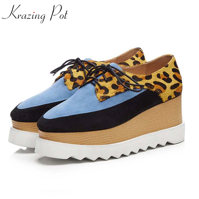 все цены на Krazing Pot 2018 horsehair kid suede brand shoes runway wedges increased square toe lace up platform leopard casual shoes L18 в интернете