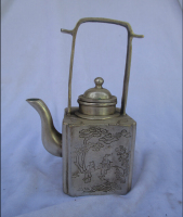 Collectible Decorated Old Handwork Tibet Silver Carved Handle Teapot/Flagon Free shipping 000010