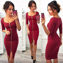 2017 Summer Autumn Women Dress Blue Red Black Dress Fashion Dress Knee-Length Sexy Party Office Wear Dress