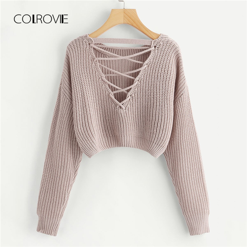 c2420da63 Detail Feedback Questions about COLROVIE Pink Korean Criss Cross V Back  Winter Crop Knitted Sweater Women Clothes 2018 Autumn Pullover Jumper  Ladies ...