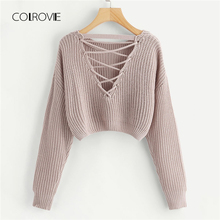 COLROVIE Pink Korean Criss Cross V Back Winter Crop Knitted Sweater Women Clothes 2018 Autumn Pullover Jumper Ladies Sweaters