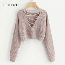 COLROVIE Rosa Koreanische Criss Cross V Zurück Winter Crop Gestrickten Pullover Frauen Kleidung 2018 Herbst Pullover Jumper Damen Pullover
