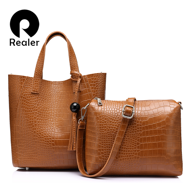 REALER бренд 2 шт./компл. женская сумка большая дамская сумка с кисточкой искусственная кожа Сумка женская маленькая сумка на плечо кошелек черный