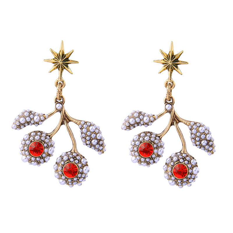 Fashion Red Blue Crystal Acrylic Pearl Flower Earrings Gorgeous Asymmetric Design Friendship Earrings Brand Jewelry