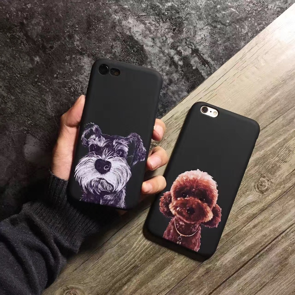 Newest Lovely Dogs Schnauzer,Teddy Design Phone Cases For Iphone 6 6s 6Plus 6s Plus 7 Plus Cute Animals Silicon Soft Case Cover